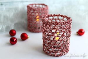 Crochet Christmas Candle Glass Covers