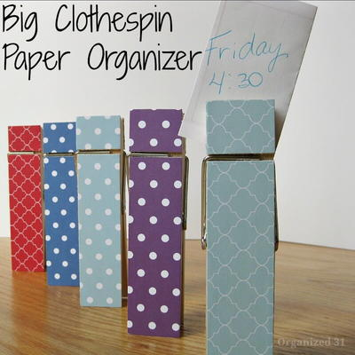 Clothespin Paper Organizer