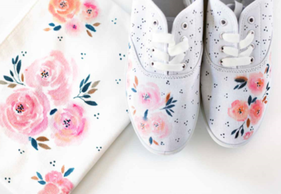 Watercolor Effect Canvas Shoes  Pouch