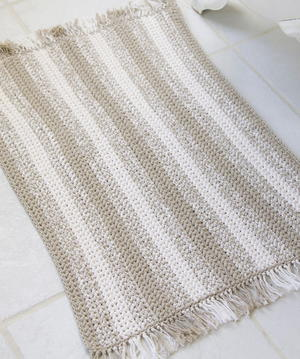 Crochet Natural Stripes Rug