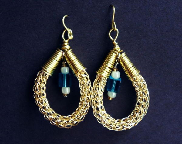 Viking Knit Beaded Earrings