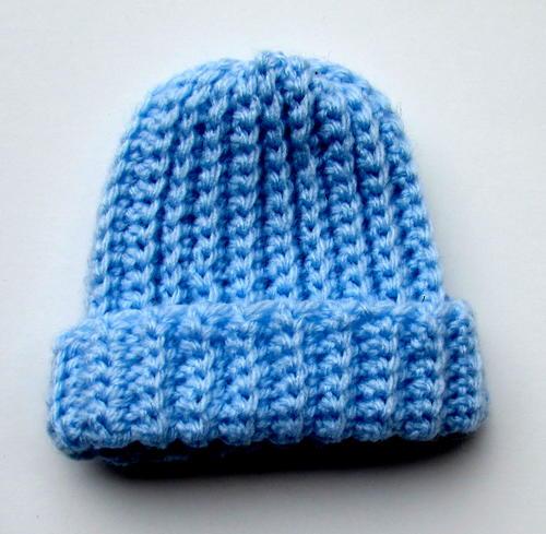 Ribbed Crochet Baby Beanie Allfreecrochetcom