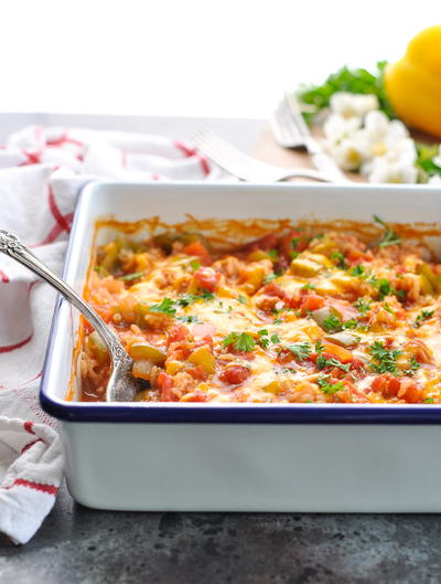 Dump-and-Bake Stuffed Bell Pepper Casserole