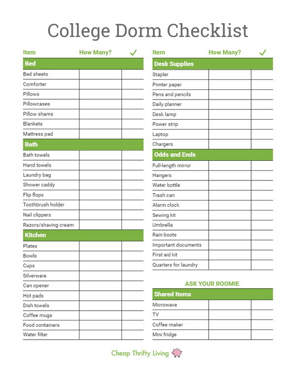 photograph relating to Printable College Application Checklist known as Higher education Dorm Record for Freshmen (Printable