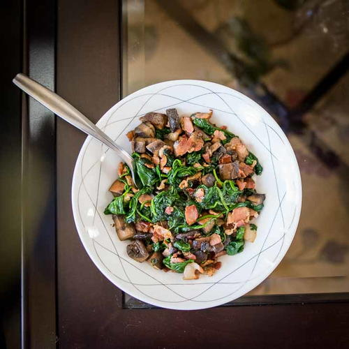 Keto Spinach Mushroom Bacon Saute Recipe