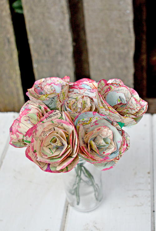 DIY Repurposed Map Roses