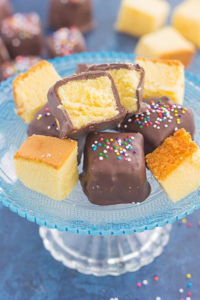 Chocolate Covered Pound Cake Bites