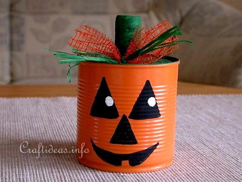 Friendly Jack o' Lantern Can Craft