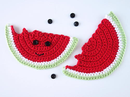Crochet Watermelon Applique or Coaster