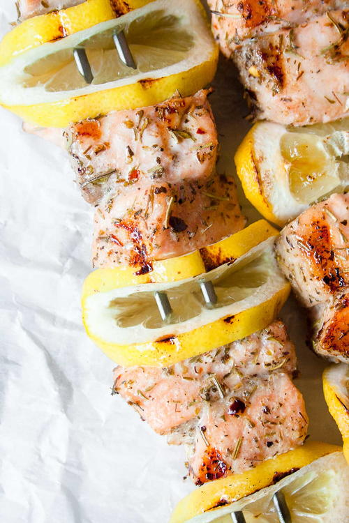 Grilled Greek Salmon Kebabs