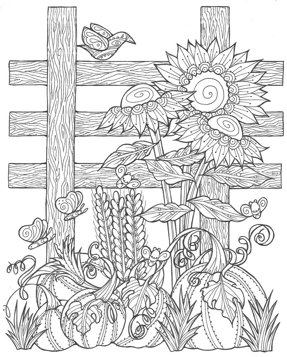 Sunflower Pumpkin Patch Coloring Page (PDF) | FaveCrafts.com