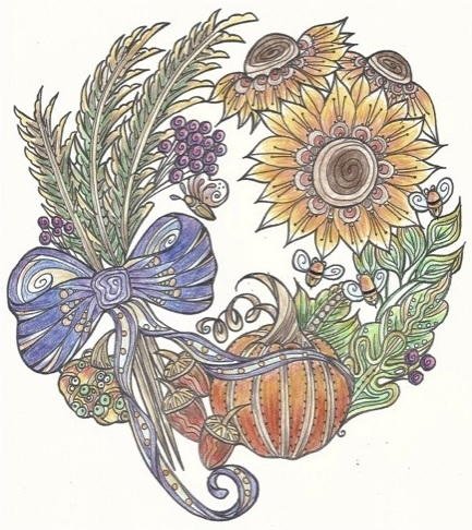 Harvest Fall Wreath Coloring Page