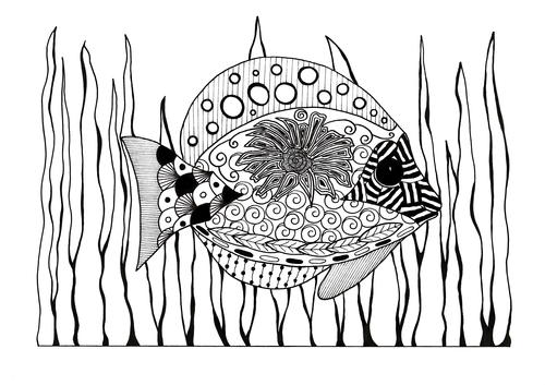 Zentangle Tropical Fish Adult Coloring Page