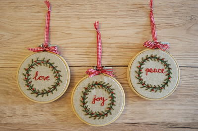 Vintage Christmas Wreath Beaded Embroidered Ornaments