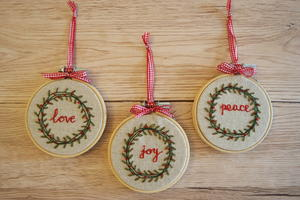 Vintage Christmas Wreath Beaded & Embroidered Ornaments