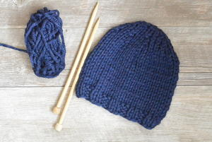 "Easy ""Blues"" Beginner Chunky Knit Hat"
