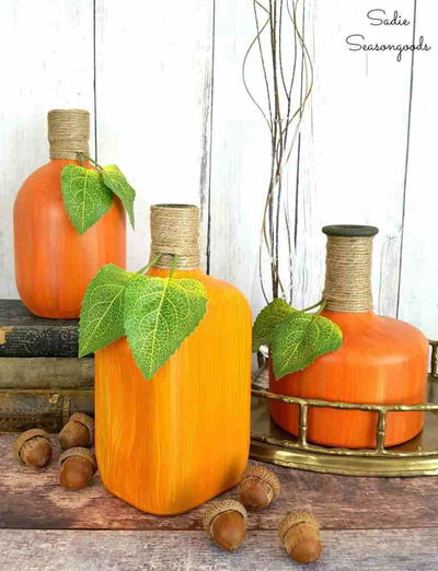 Recycled Bourbon Bottle Pumpkin Decorations
