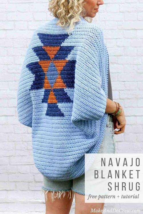 Navajo Blanket Crochet Shrug Pattern Allfreecrochet Com