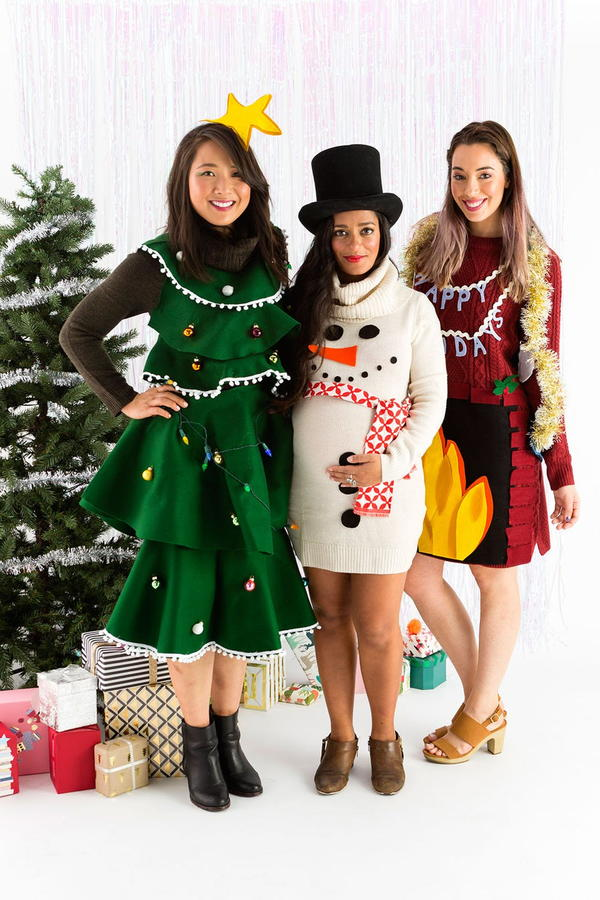Skip the Sweater and DIY an Ugly Sweater Dress This Holiday
