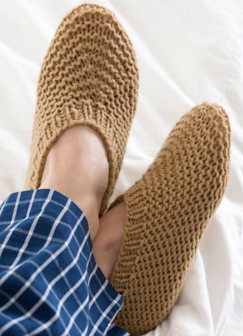 Knitted House Slippers for Him