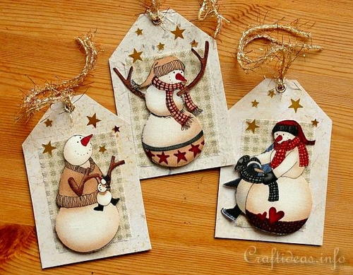 Country Snowmen Gift Tags