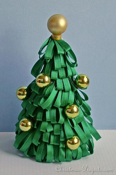 Ribbon Table Top Christmas Tree