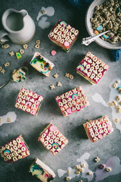 Lucky Charms Sheet Cake with Cereal Milk Buttercream