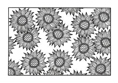 Busting Sunflowers Coloring Page