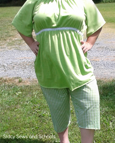 Peasant Blouse and Gingham Capri Pants