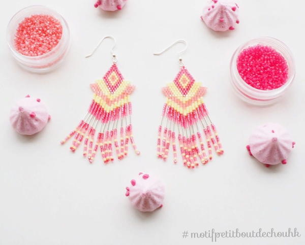 Tribal Seed Bead Fringe Earrings