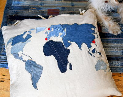 Repurposed Denim World Map Floor Cushion