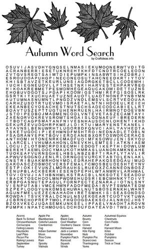 picture relating to Fall Word Searches Printable titled Autumn Term Look Printable