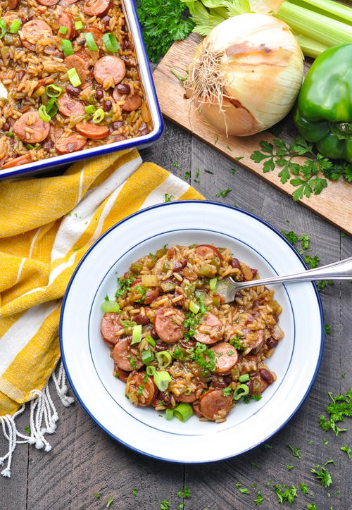 Dump-and-Bake Sausage, Red Beans and Rice Casserole