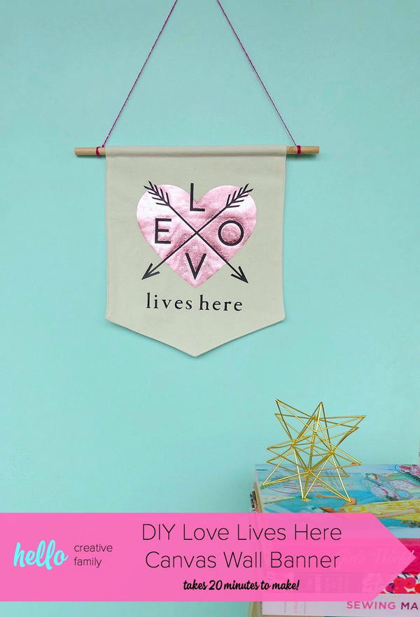 Love Lives Here Canvas Wall Banner