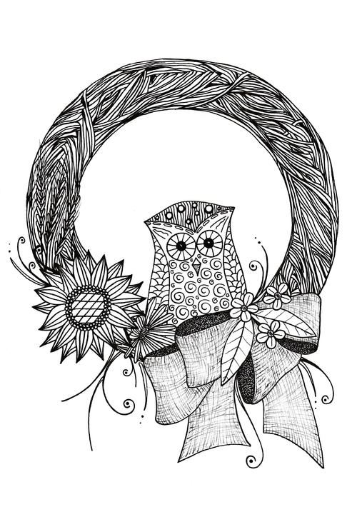 Intricate Fall Wreath Adult Coloring Page