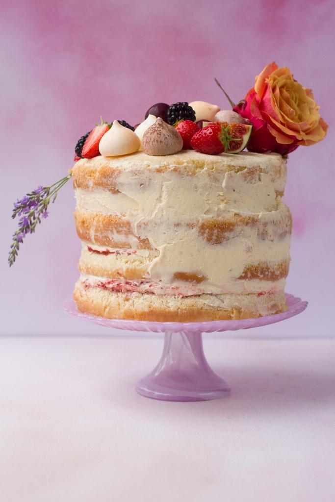 Strawberry Chamomile Naked Cake. - Half Baked Harvest