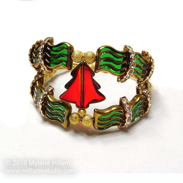 Christmas Tree Memory Wire Cuff
