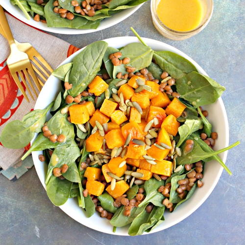 Roasted Butternut Squash Spinach Salad