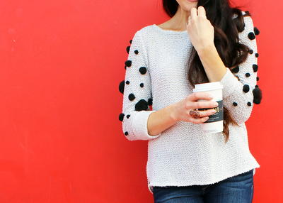 DIY Pom Pom Sweater Refashion