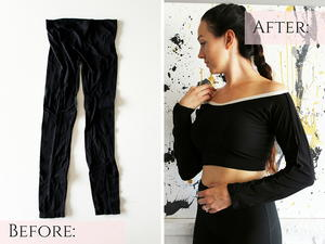 How to Refashion a Long Sleeve Top from a Pair of Leggings