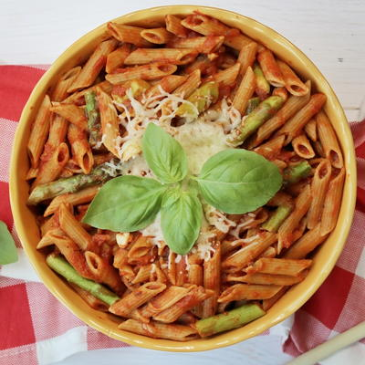 Whole Wheat Penne with Asparagus and Marinara Sauce