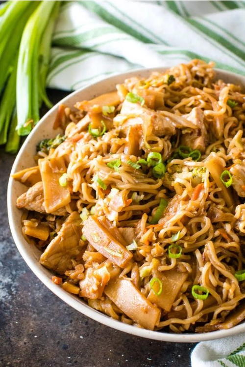Restaurant-Style Pork and Ramen Stir-Fry