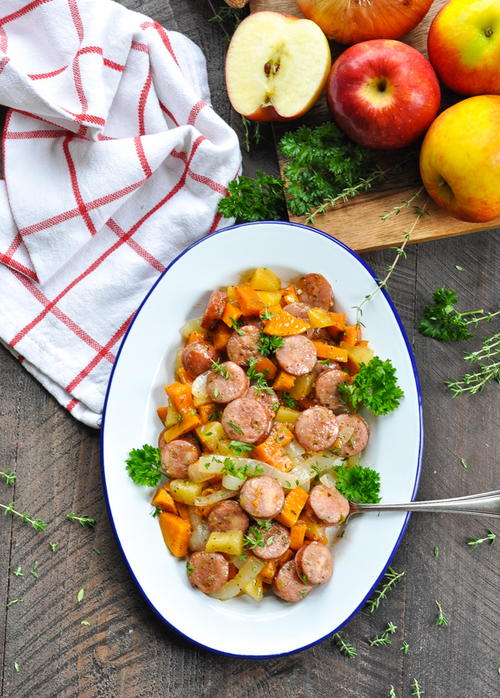 Dump and Bake Sausage Apples and Sweet Potatoes