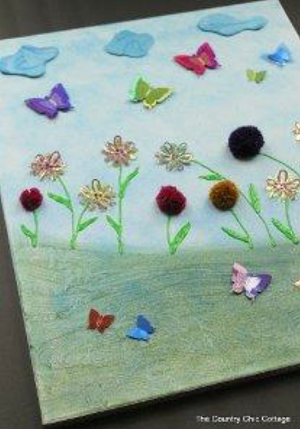 3D Springtime Scene on Canvas