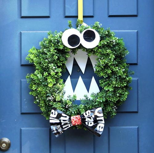 Easy DIY Monster Halloween Wreath