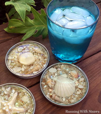 Seashell Jar Lid Resin Coasters