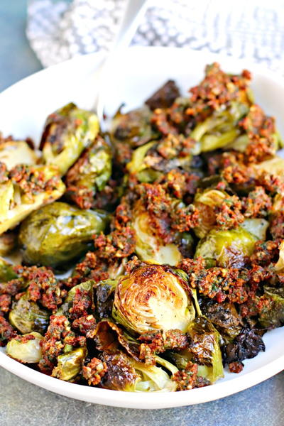Pesto Brussels Sprouts with Sun-Dried Tomatoes