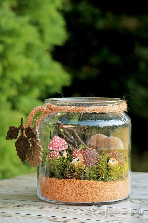 Autumn Forest Scene in a Jar