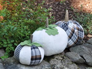 Plaid Stuffed Fabric Pumpkins