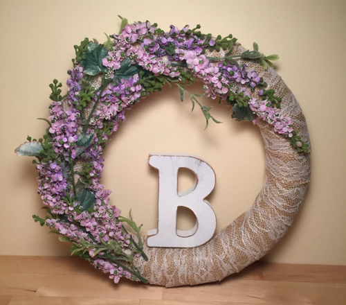 Shabby Chic DIY Initial Wreath